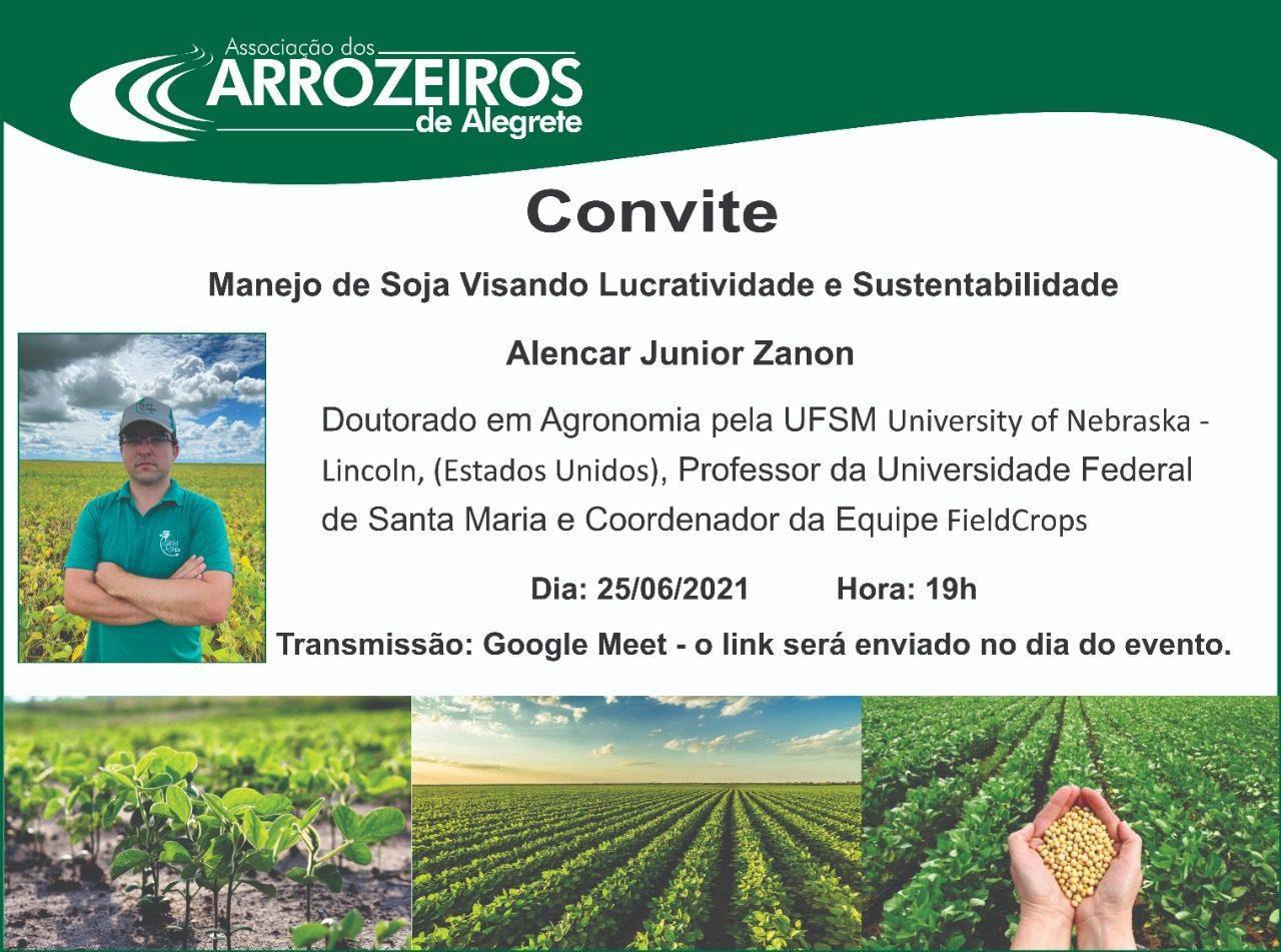 Reunião Virtual com Alencar Junior Zanon (25/06) – Manejo de Soja Visando Lucratividade e Sustentabilidade